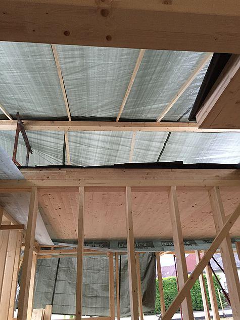 Schutzdach bei Schlechtwetter währen der Bauzeit