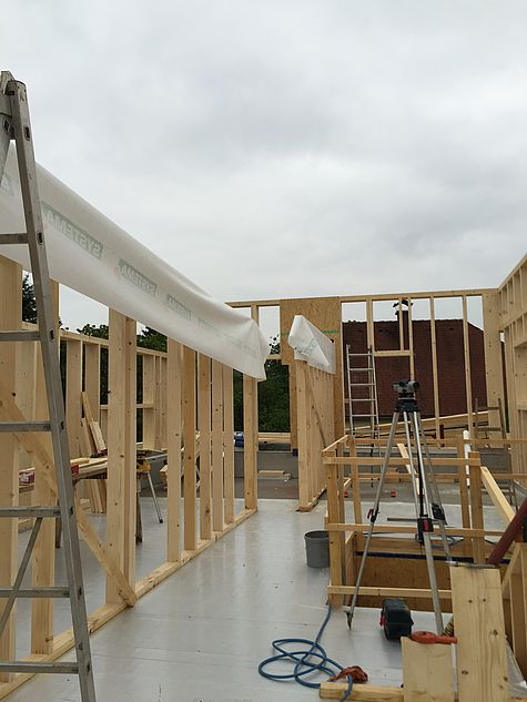 Holzriegelbau Baustellenbilder